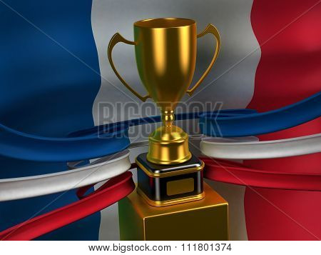 French Republic flag with gold cup