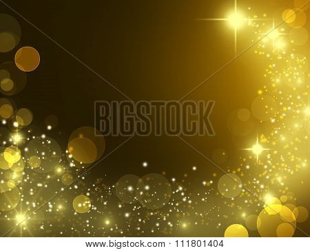 Beautiful gold glitter stars and star dust.