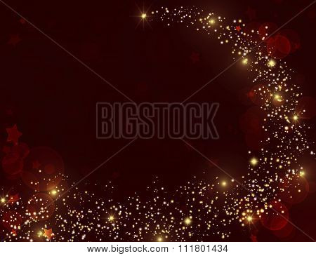 Gold glitter texture on dark red burgundy background.