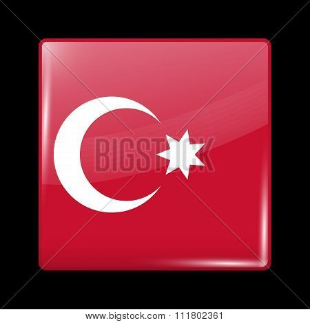 Ottoman Empire Variant Flag. Glassy Icon Square Shape