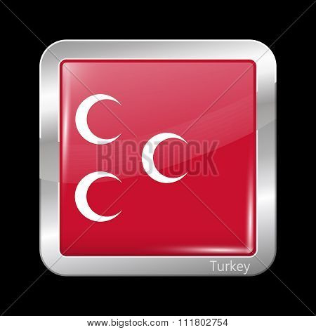 Ottoman Empire Variant Flag. Metallic Icon Square Shape