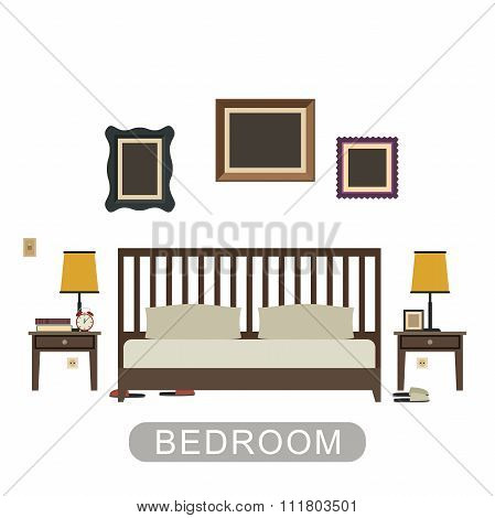 Bedroom interior in flat style.