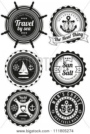 Set Of Round Badges For Sea And Yacht Club