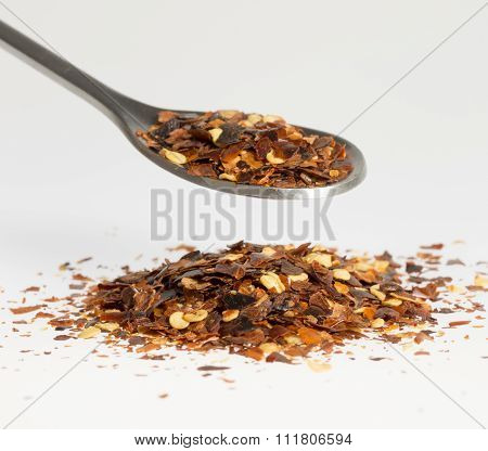 Dried Chili Pepper On Tablespoon