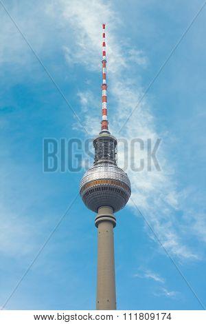 BERLIN - MARCH 16: Berlin TV tower on a blue sky, on March 16, 2015 in Berlin, Germany
