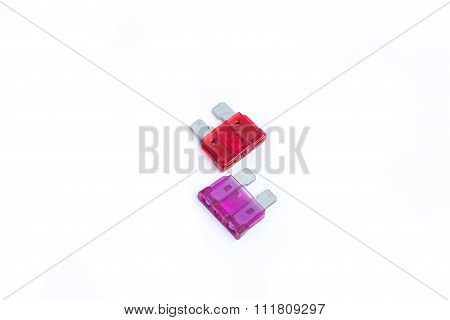 Car Fuse. Two Electrical Automotive Fuses Or Circuit Breakers Isolated On White Background