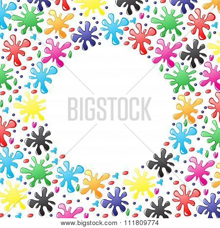 Decorative Round Border Of Paints Drops And Blots