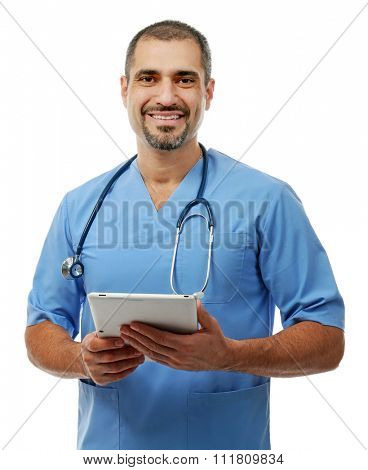 Portrait of a doctor with tablet in hands isolated on white background