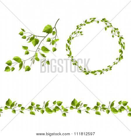 Branch of tree with green leaves. Endless pattern brush, round garland.