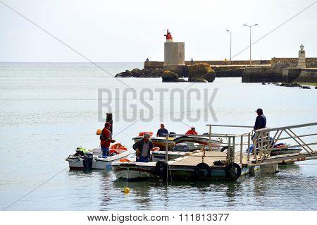 Lagos, Algarve, Portugal - October 28, 2015: Boats on the Bensafrim river in Lagos harbour