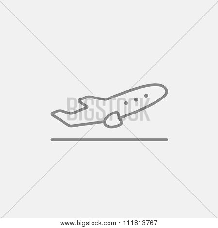 Plane taking off line icon for web, mobile and infographics. Vector dark grey icon isolated on light grey background.