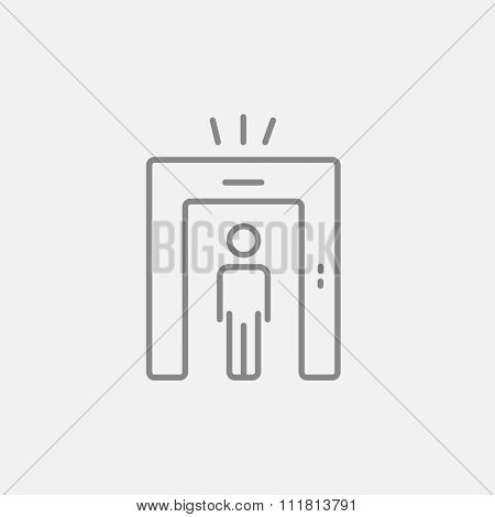 Man going through metal detector gate line icon for web, mobile and infographics. Vector dark grey icon isolated on light grey background.