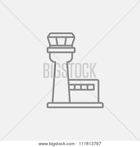 Flight control tower line icon for web, mobile and infographics. Vector dark grey icon isolated on light grey background.