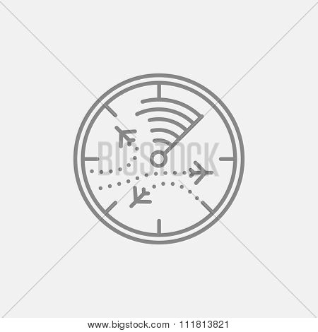 Radar screen with planes line icon for web, mobile and infographics. Vector dark grey icon isolated on light grey background.