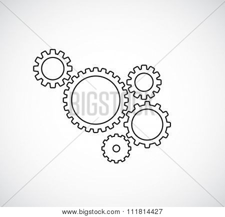 gears cogs teamwork outline design