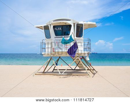 Lifesaver hut  at Fort Lauderdale beach in Florida on a summer day