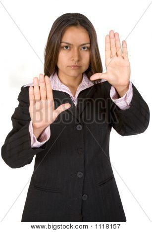 Business Woman Hands On Screen