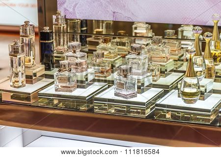 MOSCOW, RUSSIA - April 11, 2012 - Parfume corner in large shopping centre downtown Moscow