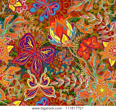 Seamless floral pattern on bright background with colorful fantasy hand draw flowers. Vector illustr