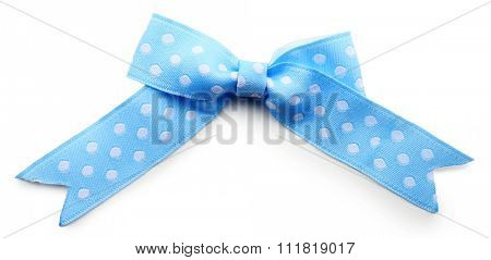 Blue dotted bow isolated on white background