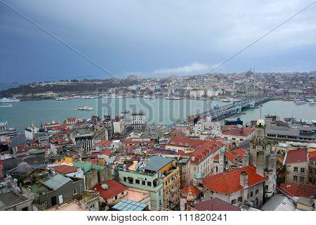 Istanbul and Bosporus from Galata tower, Turkey