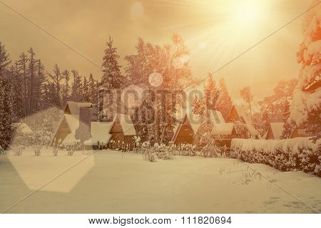 Beautiful winter view on the villa at snow at sunny day