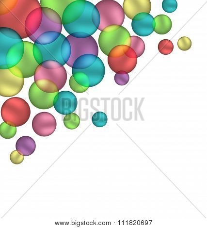 Multicolored bubbles isolated on white