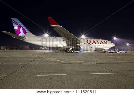 Budapest, Hungary - November 15: Qatar Cargo Airbus A330 cargo plane at Budapest Airport, November 15th 2013. Qatar Cargo is the freight branch of Qatar Airways.