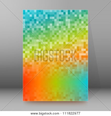 Rainbow Background Pixels Title Page Booklet Layout