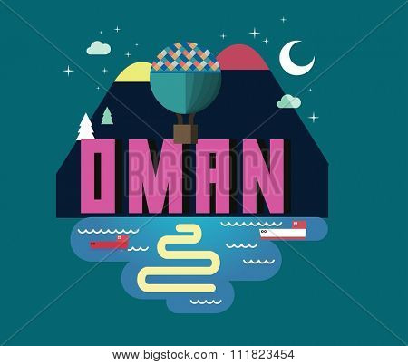 Oman in middle east is a beautiful country to visit. vintage vector illustration.