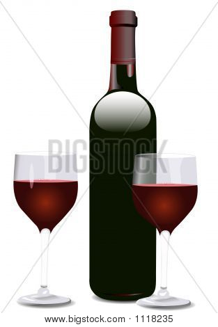 Wine Bottle And Two Glasses