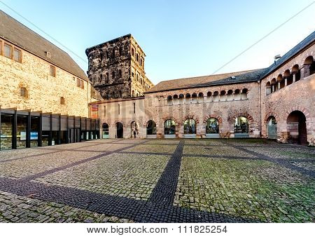 The Porta Nigra (Black Gate) in Trier city Germany. UNESCO World Heritage Site