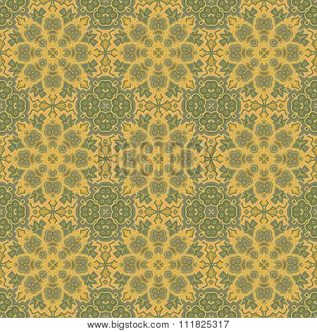 Seamless vector colorful pattern. East ornament colorful details on the turquoise background. Tracer