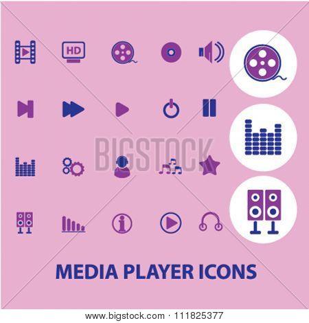 media, audio, video player icons, signs vector concept set for infographics, mobile, website, application