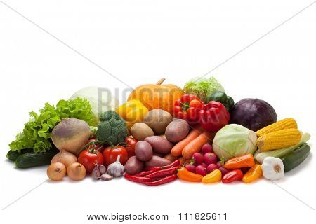 Fresh vegetables, isolated on the white background, clipping path included.