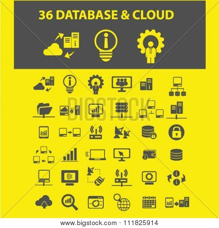 database, cloud, computer network, connection, hosting, pc icons, signs vector concept set for infographics, mobile, website, application