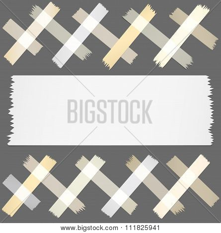 Set of horizontal and different size sticky tape, adhesive pieces on gray background