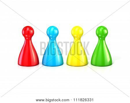 Colorful play figures. 3D render