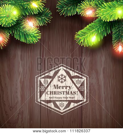 Christmas card with fir twigs and lights. Vector illustration.