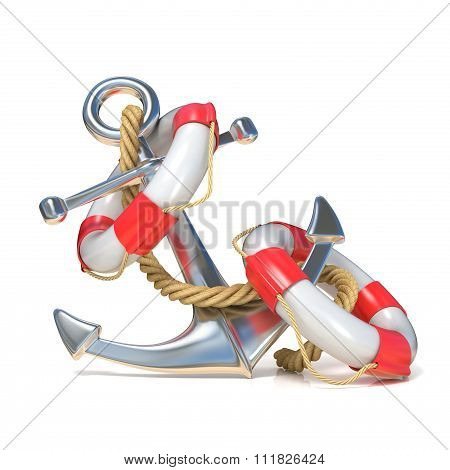 Anchor lifebuoy and rope. 3D render
