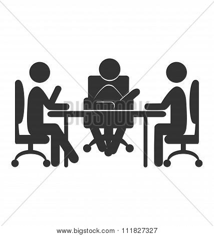Flat office communications icon isolated on white