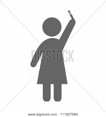 Pregnant woman with pregnancy test with two lines pictogram flat