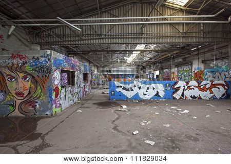 Abandoned Industrial Place With Graffiti