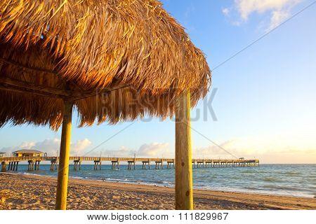 Beach hut at sunrise at Dania BEach Pier near Miami Florida