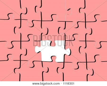 Pink Puzzle With One White Piece