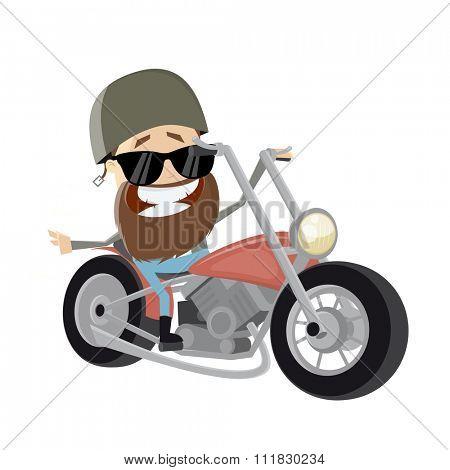 funny cartoon biker riding his bike