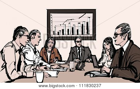 Business meeting - vector illustration