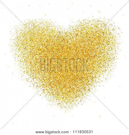 Crumbled heart-shaped confetti. Golden confetti.