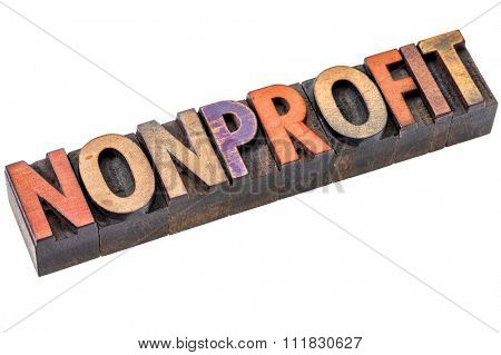 nonprofit banner - isolated word abstract in vintage letterpress printing blocks stained by color inks