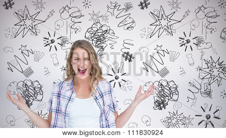 Angry hipster shouting against grey background